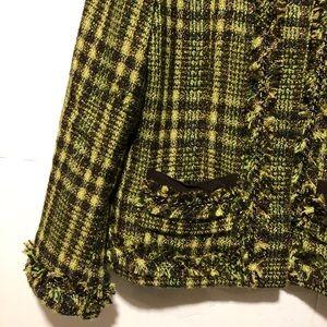 Chico's Jackets & Coats - Chico's green tweed jacket with fringe Sz 0